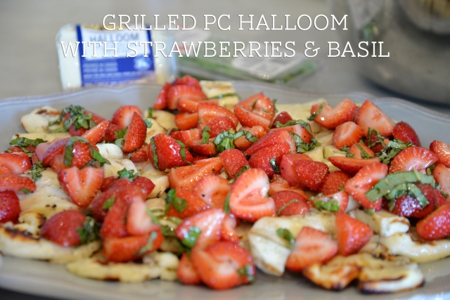 grilled pc halloom with strawberries and basil